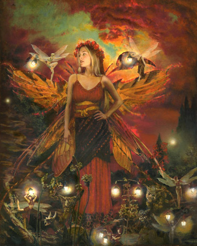 all hallows eve oil painting canvas fairy